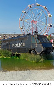 WESTON-SUPER-MARE, UK - SEPTEMBER 10, 2015; Dismaland, an exhibition curated by the artist Banksy at the Tropicana, the town's former lido.