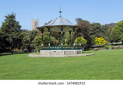 WESTON-SUPER-MARE, UK - SEPTEMBER 10, 2015: A cast-iron bandstand in Grove Park. The bandstand dates from the 1890s and is a grade II listed building.