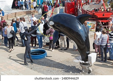 WESTON-SUPER-MARE, UK - SEPTEMBER 10, 2015: Banksy's Dismaland exhibition at the Tropicana, the town's derelict lido.