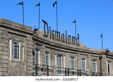 WESTON-SUPER-MARE, UK - SEPTEMBER 21, 2015: Dismaland, Banksy inpired theme park, Weston-Super-Mare, main building entrance