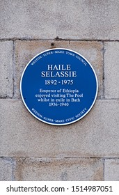 WESTON-SUPER-MARE, UK - SEPTEMBER 25, 2019: A blue plaque commemorating the Ethiopian emperor Haile Selassie's visits to the town's former lido.