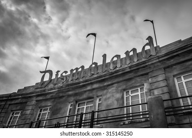 WESTON-SUPER-MARE, UK - SEPTEMBER 3 2015: The sign at the entrance to Banksy's Dismaland Bemusment Park. A five week show in the seaside town of Weston-Super-Mare.
