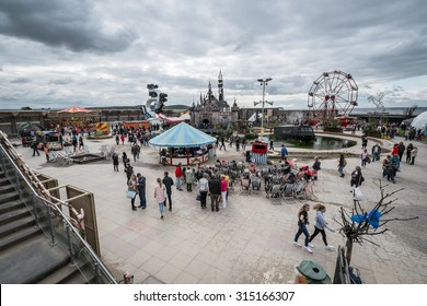 WESTON-SUPER-MARE, UK - SEPTEMBER 3 2015: View of  the whole site at Banksy's Dismaland Bemusement Park. A five week show in the seaside town of Weston-Super-Mare.