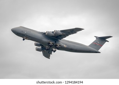 Westover ARB, MA - 7/14/18: A C-5 cargo aircraft takes off from a Massachusetts military base.