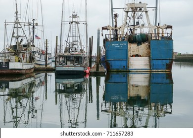 Westport, WA, USA July 22, 2016: Commercial fishing boats of all sizes are reflected in the calm waters of Westport Marina