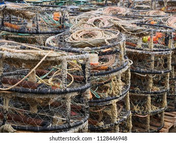 WESTPORT, WASHINGTON-JUNE 19, 2018: A stack of crab pots piled near Westport Harbor. These traps are used to catch Dungeness crabs.