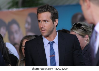 WESTWOOD CA -AUGUST 1, 2011: Actor Ryan Reynolds arriving for the premiere of the movie The Change-Up at the Regency's Village Theatre August 1, 2011 in Westwood, CA.