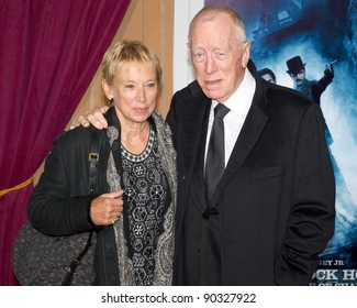 """WESTWOOD, CA - DECEMBER 6: Actor Max von Sydow arrives at the premiere of """"Sherlock Holmes 2: A Game of Shadows"""" at Regency Village Theater on December 6, 2011 in Westwood, California"""