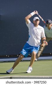 WESTWOOD, CA - JULY 19:  Mardy Fish (pictured) playing against Radek Stepanek at the US Open Series Countrywide Classic on 7/19/07.