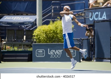 WESTWOOD, CA - JULY 20:  James Blake (pictured) playing against Vincent Spadea at the US Open Series Countrywide Classic Quarter Finals on 7/20/07.