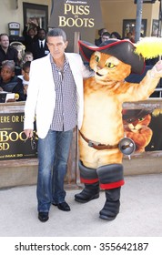 """WESTWOOD, CALIFORNIA - October 23, 2011. Antonio Banderas at the Los Angeles premiere of """"Puss in Boots"""" held at the Regency Village Theater, Los Angeles."""
