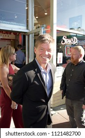 Westwood Village, CA June 26, 2018 - Deadpool creator, Rob Liefeld, grabbing a bite to eat before attending the premiere of Sicario: Day of the Soldado.