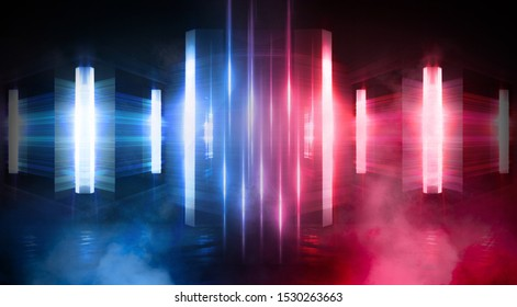 Wet asphalt, concrete, road. Night view of a dark neon scene. Neon lights, lines, rays of blue red neon. Abstract light, virtual scene.