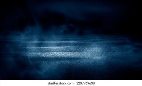 Wet asphalt, neon spotlight, smoke. Dark street background