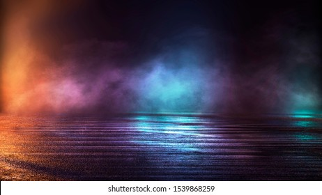 Wet asphalt, night view, neon reflection on the concrete floor. Night empty stage, studio. Dark abstract background. Product Showcase Spotlight Background.