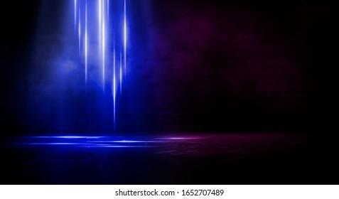 Wet asphalt, reflection of neon lights, a searchlight, smoke. Abstract light in a dark empty street with smoke, smog. Dark background scene of empty street, night view, night city. - Shutterstock ID 1652707489