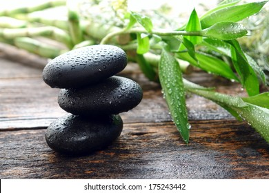 Wet black smooth polished hot massage stones with water drops and droplets in Zen style soothing cairn next to bamboo leaves on in relaxing wellness holistic spa before rejuvenation health treatment