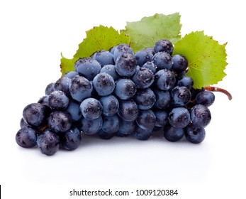 Wet bunch of blue grapes with leaves isolated on white background