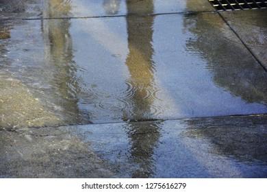 Wet cement floor like a mirrow by the rain