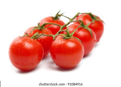 Wet Cherry tomatoes on white