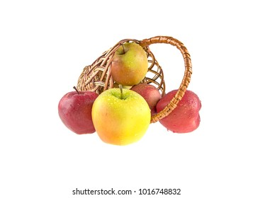 wet, clean apples in a basket on a white background