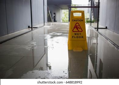 Wet floor caution sign.
