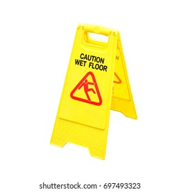 wet floor caution sign isolated on white background