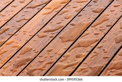 Wet floor with raindrop after a rain