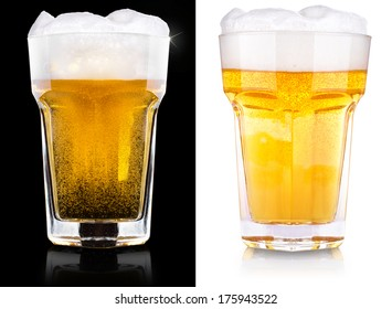 wet fresh beer isolated on black and white