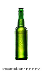 wet green glass bottle of beer on white background