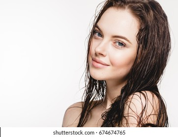 Wet hair woman portrait, beauty hair healthy skin care concept, beautiful model with wet hair isolated on white.