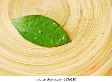 wet leaf over wood