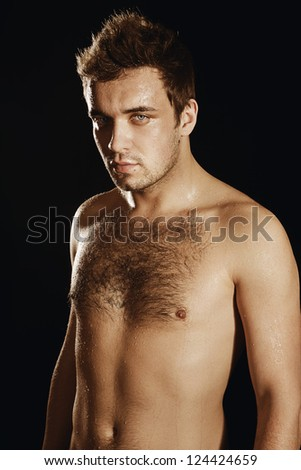 Blond guy, hairy chest