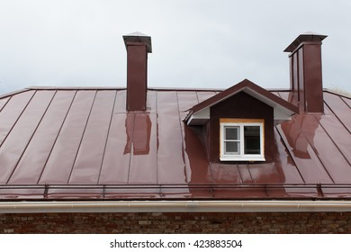 Wet metal roof of the building in the ambassador of a rain