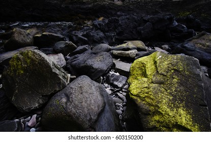 Wet mossy rocks