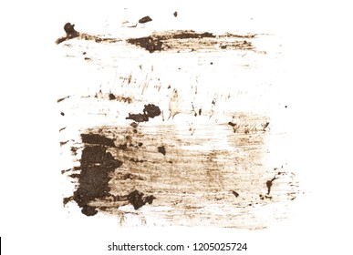 Wet mud, stains texture isolated on white background, top view