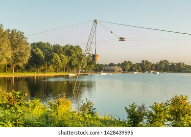 Wet 'n Wild The Social Club, Sportlaan, Zegerplas, Alphen aan den Rijn, province of South Holland, the Netherlands, June 17, 2019: cable ski in open water for water skiers and wakeboarders,