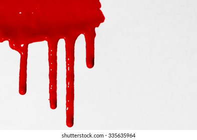 Wet Paint Drippoing - Red Isolated on White Background