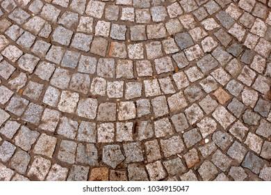 wet paving stones