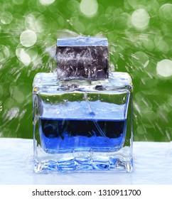 wet perfume bottle