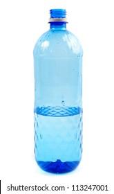 wet plastic water bottle closeup