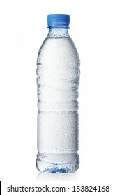 wet plastic water bottle isolated on a white background