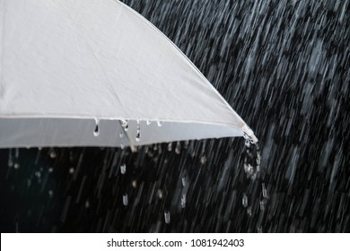 Wet protection umbrella in stormy weather with natural thunderstorm, on black background,