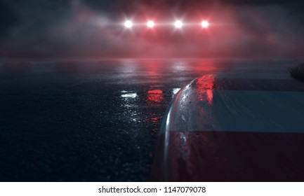 Wet Race Track with lights
