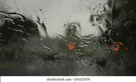 Wet rain car windshield glass