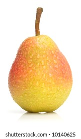 The wet ripe pear isolated on the white