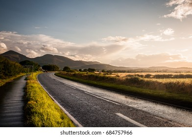 Wet road after rain in Mourne mountains, Northern Ireland