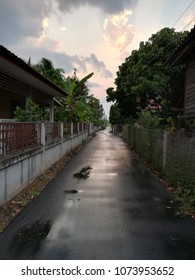 wet road by raining pass through the building house and fence with twilight of sky in sunset time