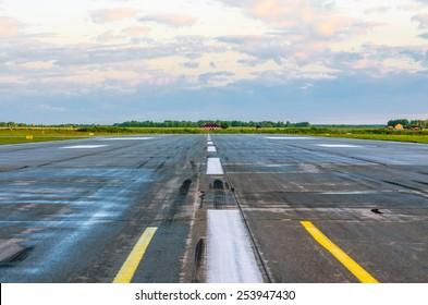 Wet Runway Airport strip plane asphalt road