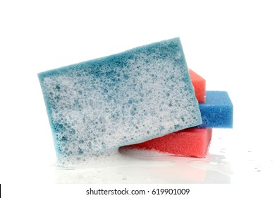 wet sponge with soap white background